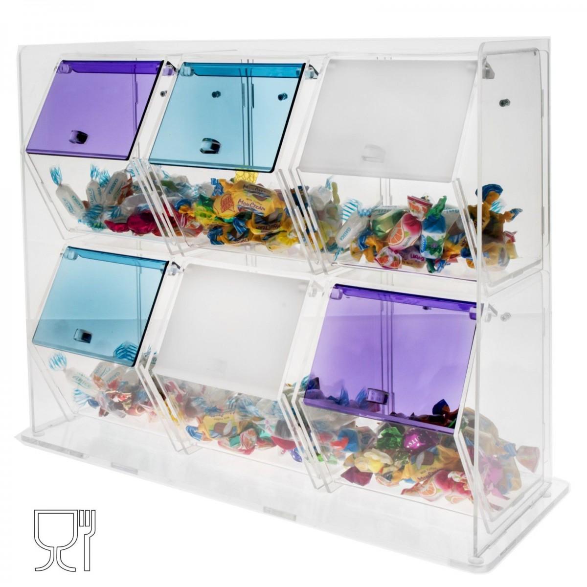 E-055 CG - Porta caramelle in plexiglass trasparente e colorato a cassetti 6 scomparti con sportelli