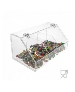 Clear and coloured Acrylic candy bin - 3 compartments with locking door