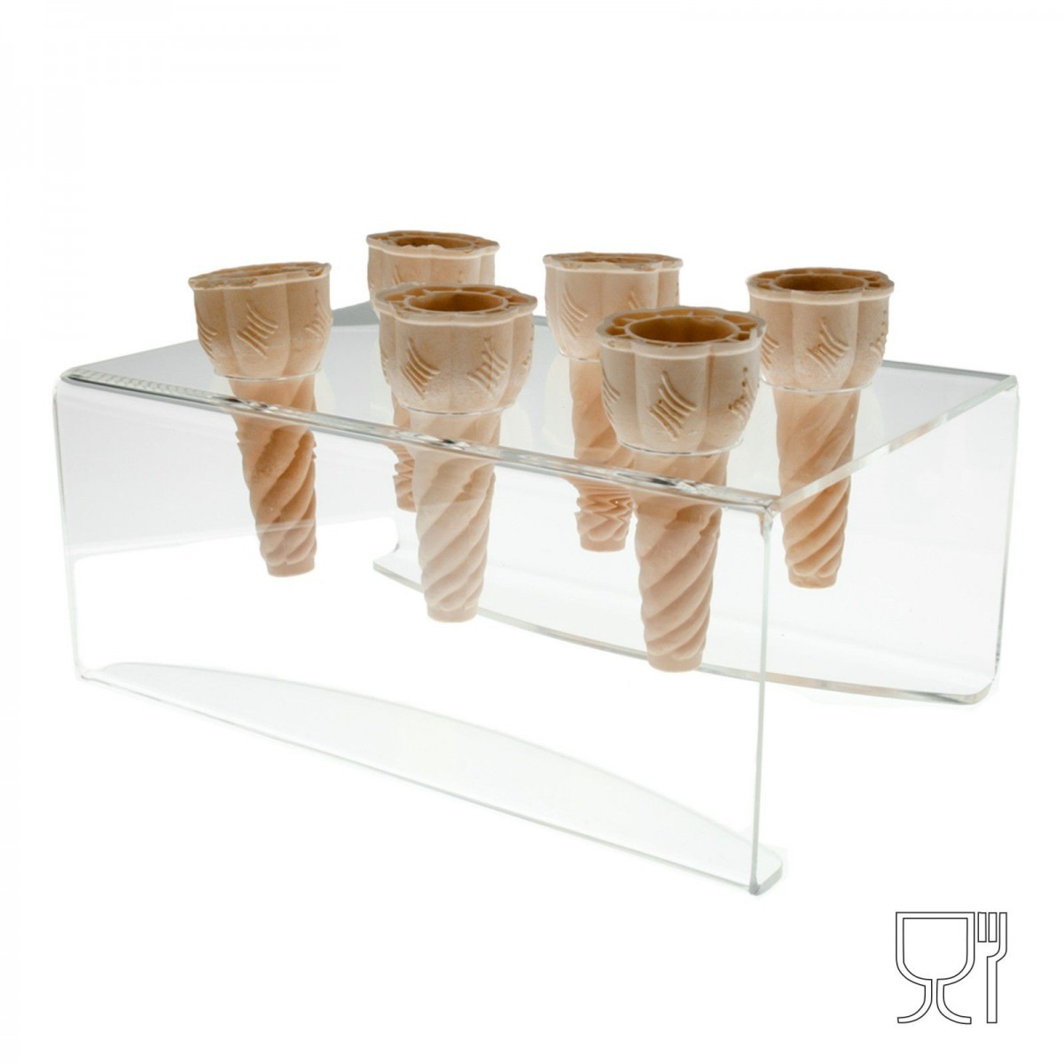 Clear Acrylic ice-cream cone holder – 6 Cone Capcity