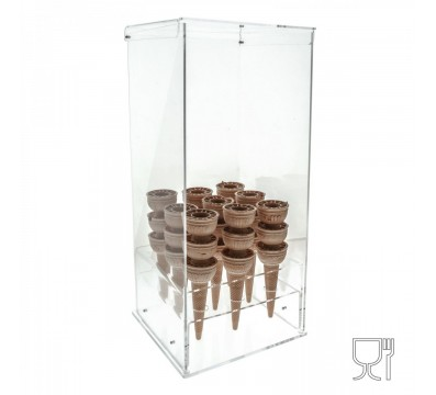 Clear Acrylic ice-cream cone holder – 90 Cone Capcity