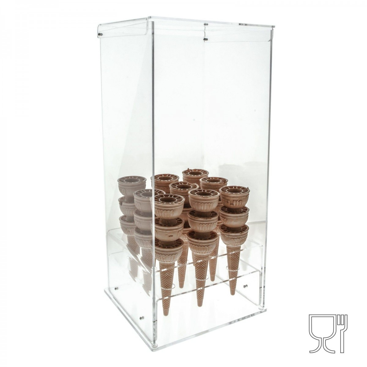 Clear Acrylic ice-cream cone holder – 90 Cone Capcity