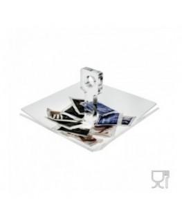 E-060 PB - Porta caramelle e bustine da tavolo in Plexiglass formato da un ripiano