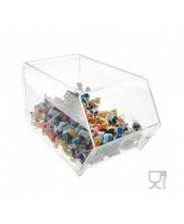 E-062 PC - Porta caramelle in plexiglass trasparente SENZA sportello - Misure: 16 x 29 x H17 cm