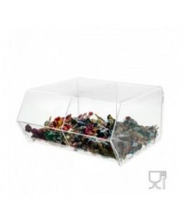 E-063 PC - Porta caramelle in plexiglass trasparente a due scomparti SENZA sportello - Misure: 32 x 29 x H17 cm