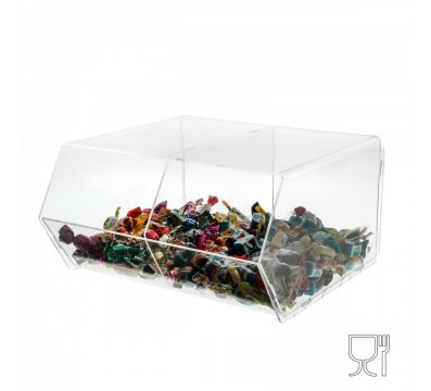 Clear Acrylic candy bin without locking door – 2 compartments