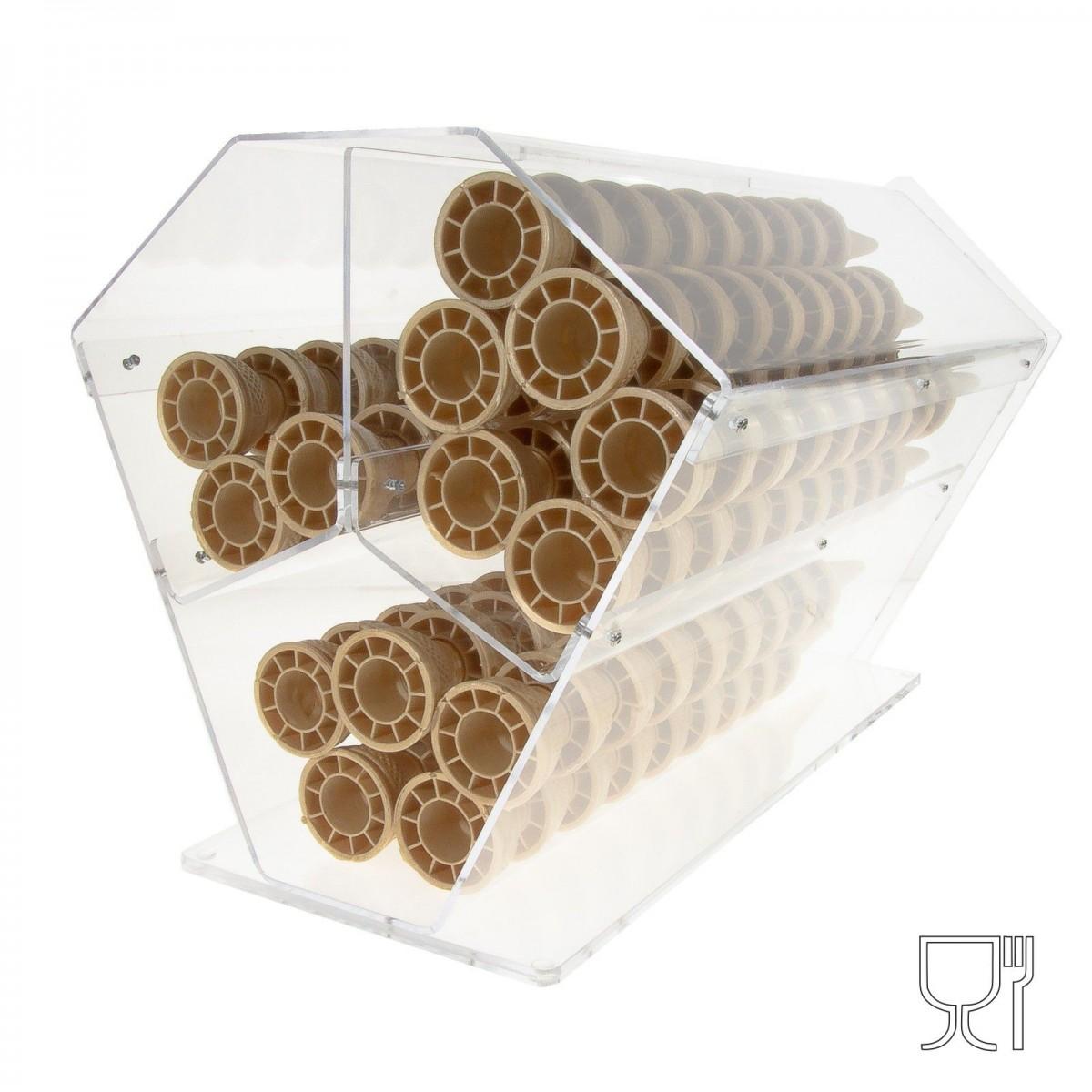 E-070 PCN - Porta coni in plexiglass trasparente orizzontale