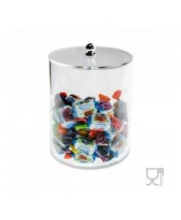 E-071 PC - Porta caramelle in plexiglass trasparente a base circolare - Misure: diametro 12.5 x H15 cm