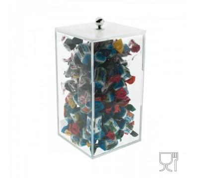 Porta caramelle in plexiglass trasparente a base quadrata - Misure: 10 x 10 x 18 cm