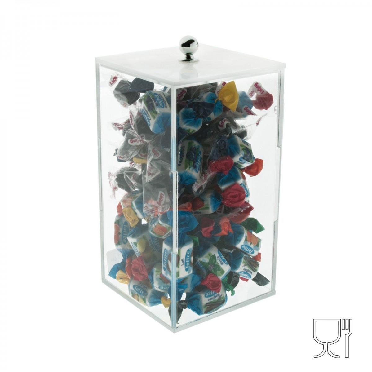 E-072 PC - Porta caramelle in plexiglass trasparente a base quadrata - Misure: 10 x 10 x 18 cm