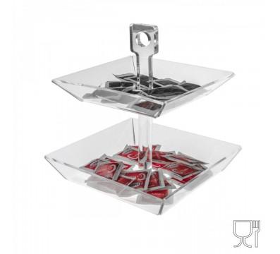 E-088 PB2 - Porta caramelle e bustine da tavolo in Plexiglass formato da 2 piatti