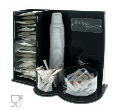 Clear and black acrylic coffee pod and sugar sachet box holder