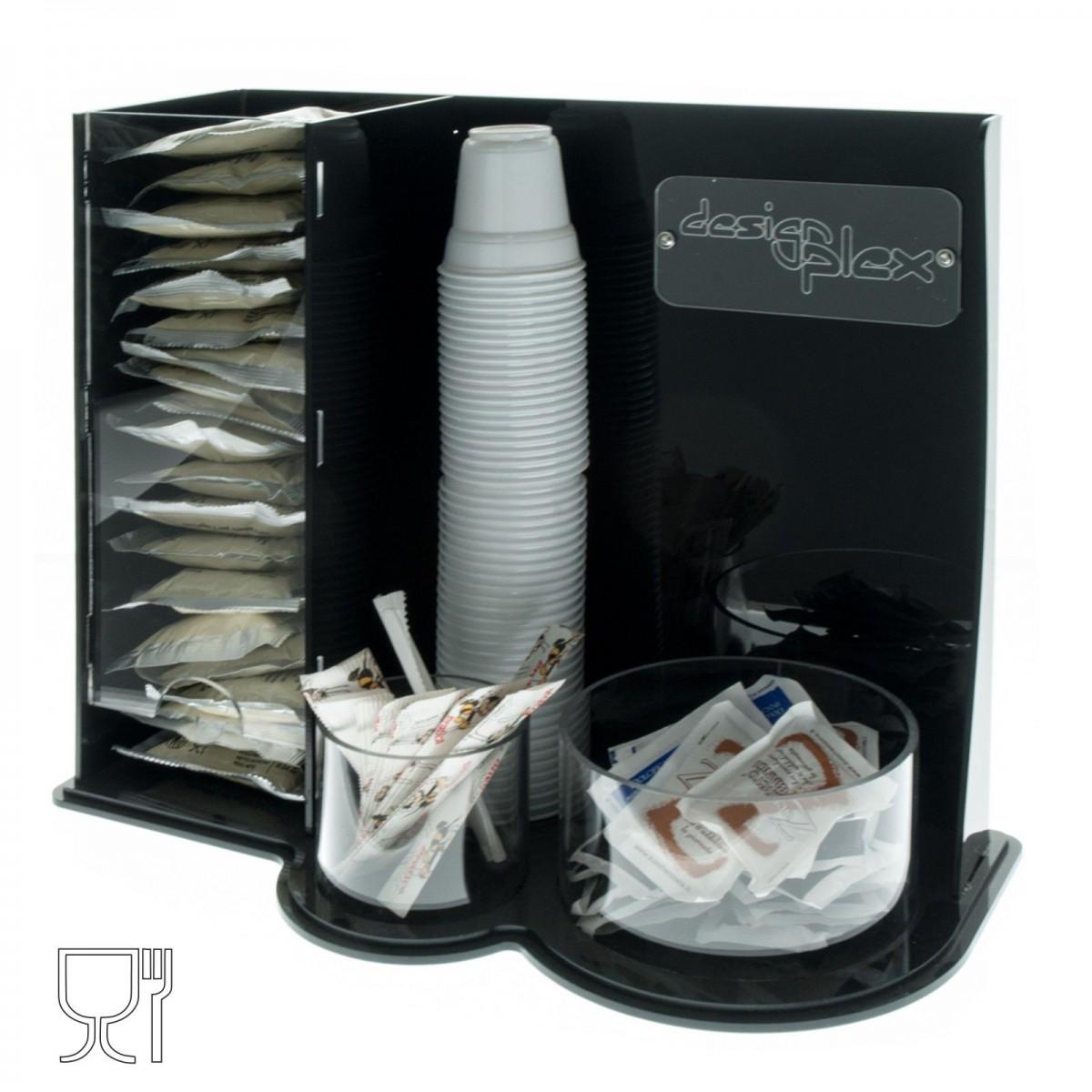 Kaffeekapseln- und Tüten-Halter aus Plexiglass, schwarz und transparent