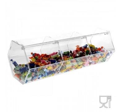 Porta caramelle esagonale a 3 scomparti con sportello in plexiglass