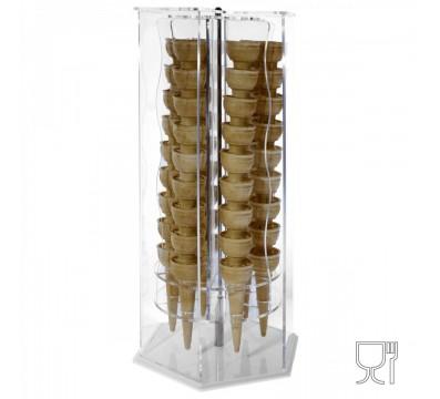 Porta coni girevole in plex trasp di forma esagonale