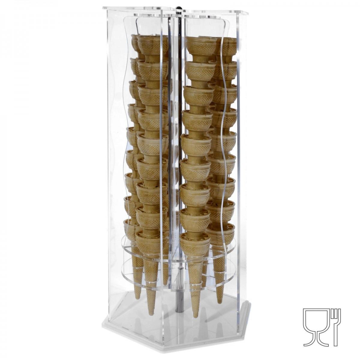 E-119 - Porta coni girevole in plex trasp di forma esagonale