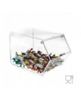 Porta caramelle  in plexiglass trasparente con chiusura a sportello