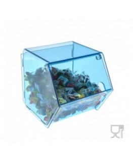 E-001 PC-B - Porta caramelle in plexiglass trasparente e colorato con sportello - 16 x 25 x H17
