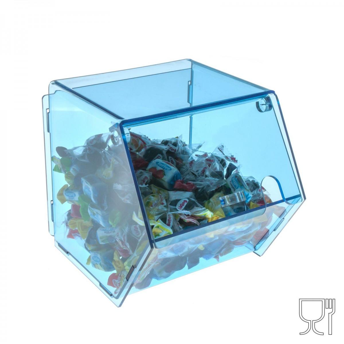 Porta caramelle  in plexiglass trasparente e colorato con sportello