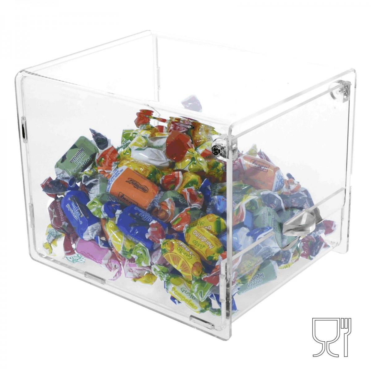 E-002 PC - Porta caramelle trasparente con sportello - 15 x 20 x H15