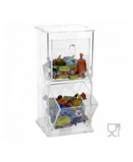 E-003 PC - Porta caramelle in plexiglass a due scomparti - Ingombro totale: 12 x 11 x H26 cm