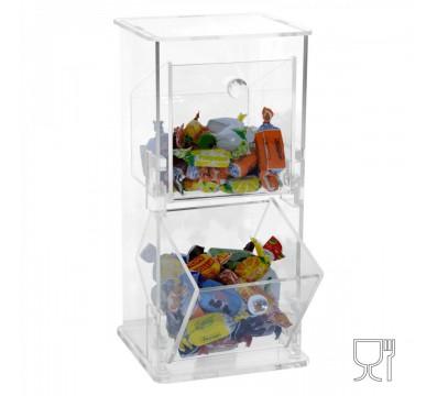 Porta caramelle in plexiglass a due scomparti verticali munito di due contenitori che proteggono gli alimenti