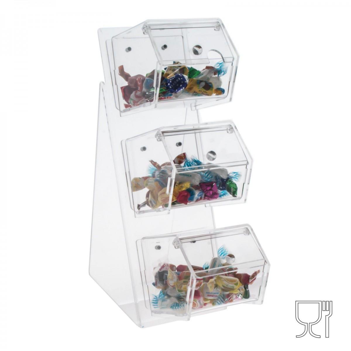 E-004 PC - Porta caramelle in plexiglass a 3 scomparti con sportello