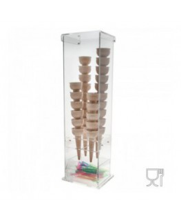 Clear and coloured acrylic ice-cream cone holder with spoon holder