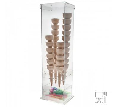 E-005 PCN - Porta coni gelato in plexiglass trasparente con vaschetta porta cucchiaini a 4 fori - Misure: 16 x 13 x H61 cm