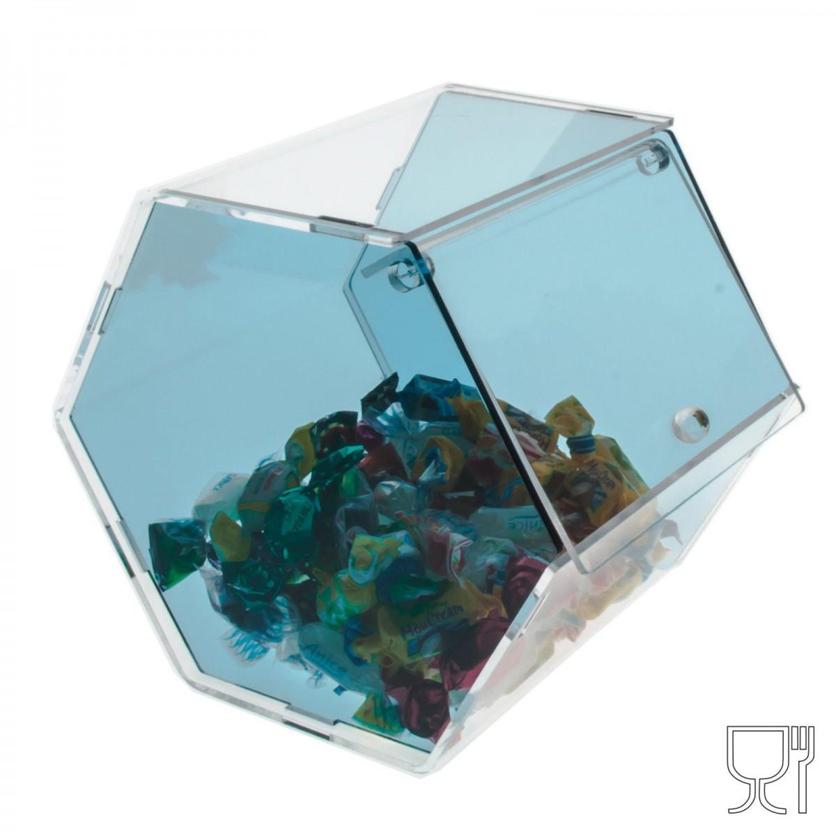 E-036 PC - Porta caramelle in plexiglass trasparente e colorato di forma esagonale - Misure: 16 x 19 x H18 cm -A
