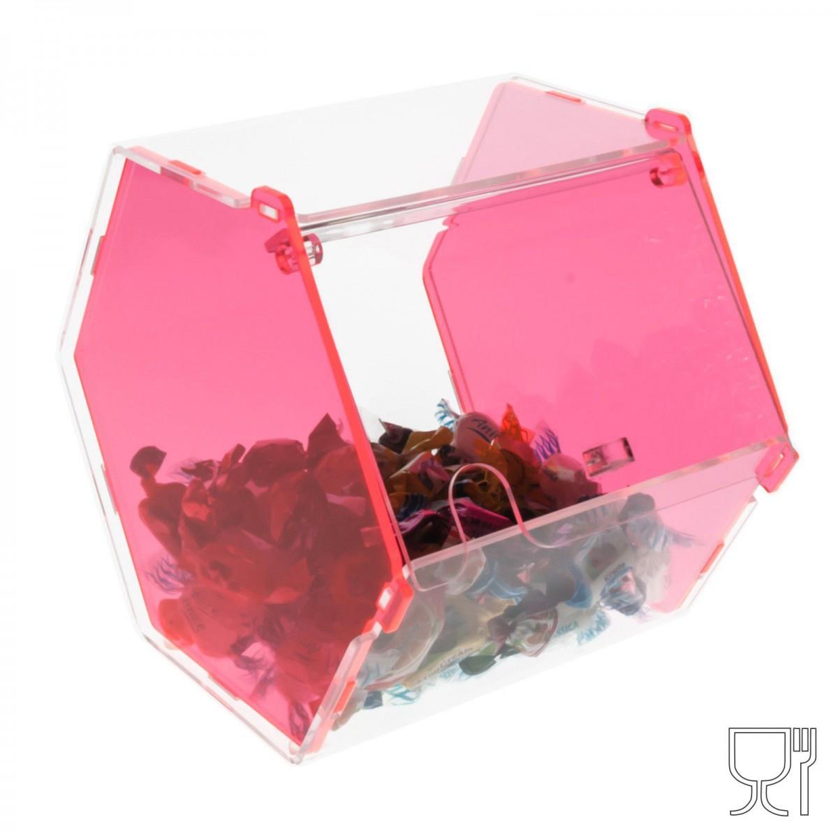 E-037 PC-B - Porta caramelle esagonale con sportello in plexiglass C