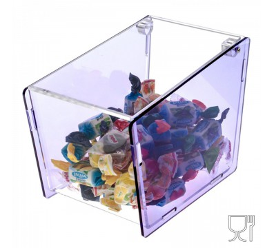 Trapezoidal acrylic candy bin with locking door