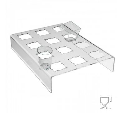 Etagere aus Plexiglass, transparent, für Süsspeisen, Halbgefrorene in Mini-Gläsern