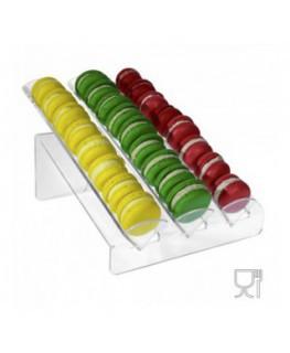 Porta macaron in plexiglass trasparente con Ripiano Inclinato