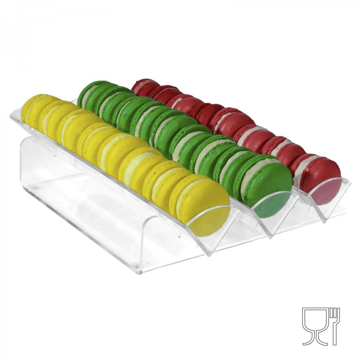 E-145 - Porta macaron in plexiglass trasparente con Ripiano Orizzontale