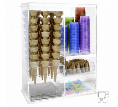 Clear Acrylic multipurpose display case with: 9-compartment ic
