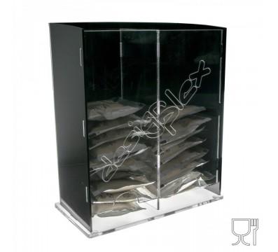 Porta cialde caffè a 2 scomparti realizzato in plexiglass nero e trasparente