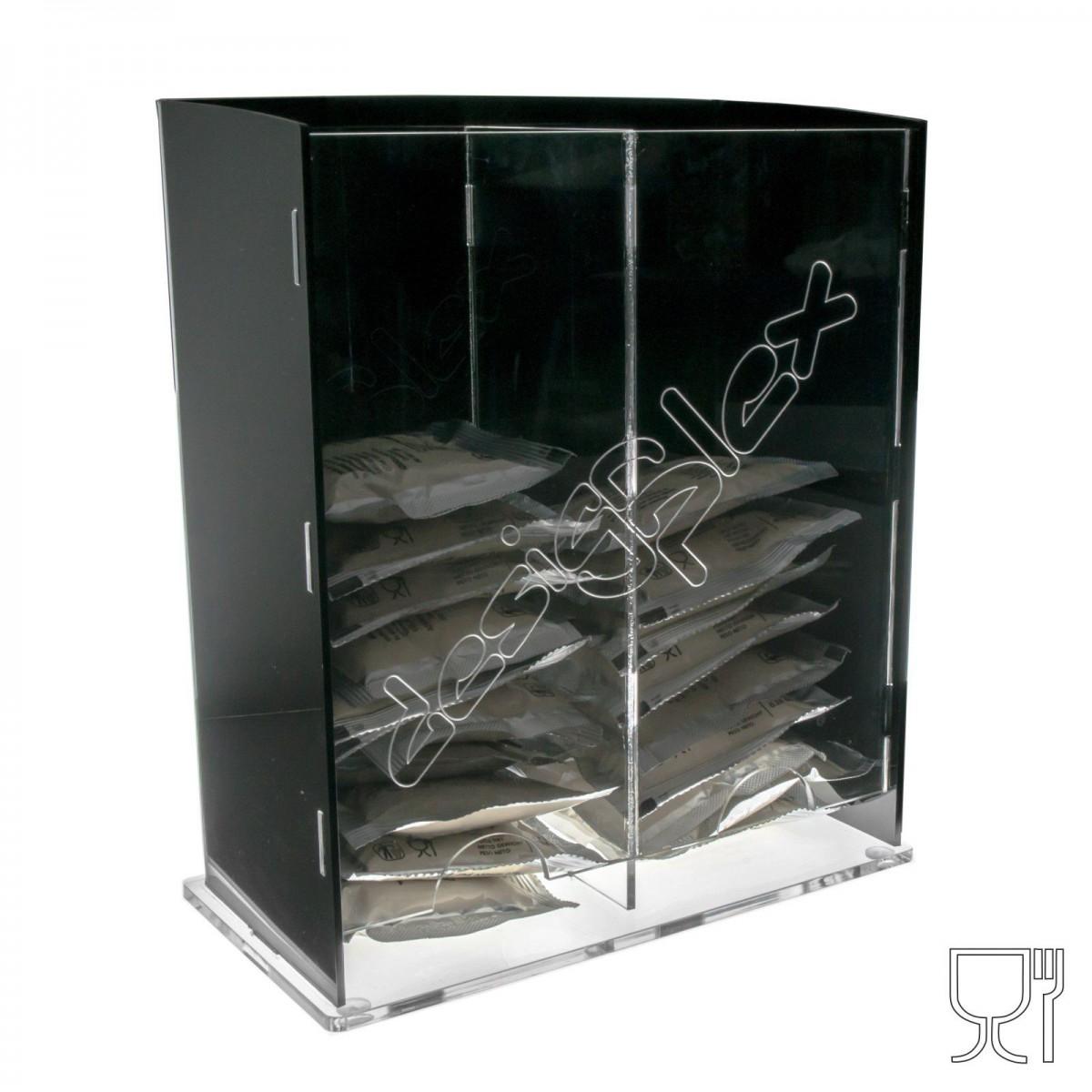 E-186 POC - Porta cialde caffè a 2 scomparti realizzato in plexiglass nero e trasparente