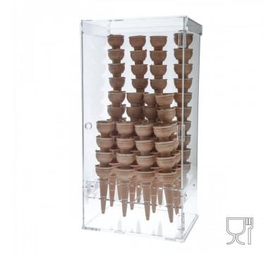 Theken-Eiswaffelhalter aus Plexiglass, transparent, mit 12 Öffnungen