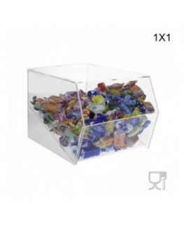 E-222 - Porta caramelle in plexiglass trasparente SENZA sportello con Ripiano Inclinato