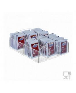 E-228 POB-B - Porta bustine zucchero in Plexiglass capacità 6 postazioni - CM(LxPxH): 17x16x8