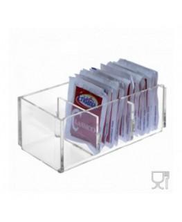 E-228 POB-C - Porta bustine zucchero in Plexiglass capacità 3 postazioni - CM(LxPxH): 12.5x6x5