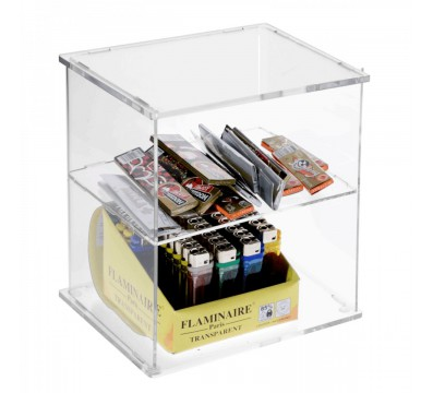 Espositore porta accendini in plexiglass trasparente con Ripiano Orizzontale