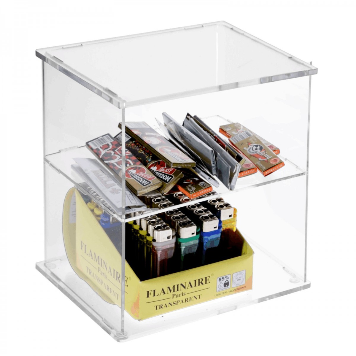 Clear acrylic cigarette lighter display stand