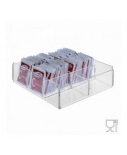 6-slot sugar packet holder in transparent Plexiglass - CM(LxPxH): 17x17x5