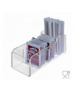 E-228 POB-E - Porta bustine zucchero e palette in Plexiglass capacità 4 postazioni - CM(LxPxH): 16.5x7x6