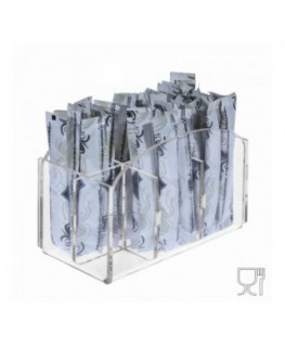 6-slot sugar stick-packet holder in transparent Plexiglass - CM(LxPxH): 12.5x7x10