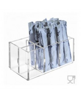6-slot sugar stick-packet holder in transparent Plexiglass - CM(LxPxH): 12.5x7x6