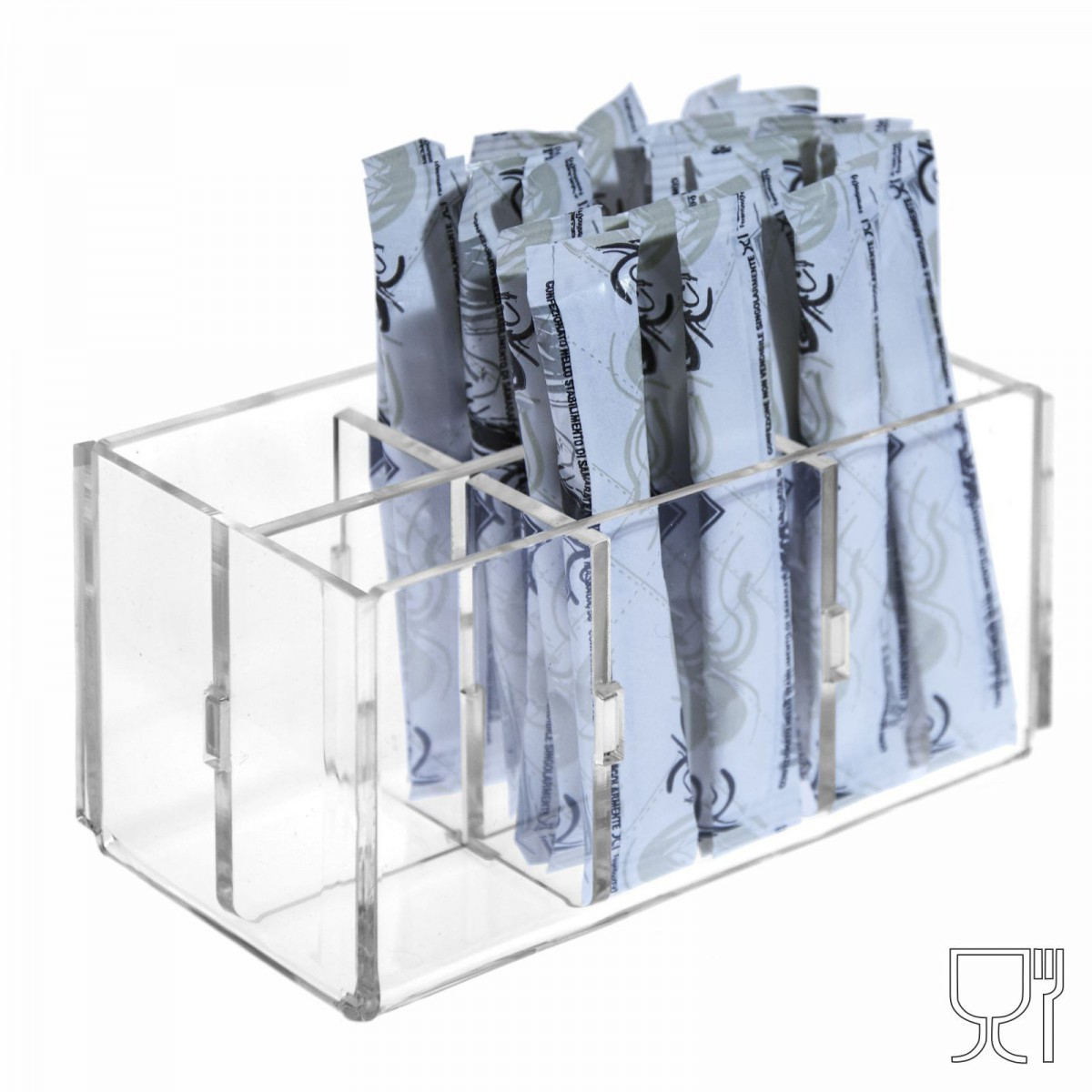 E-228 POB-G - Porta bustine zucchero stick in Plexiglass capacità 6 postazioni - CM(LxPxH): 12.5x7x6