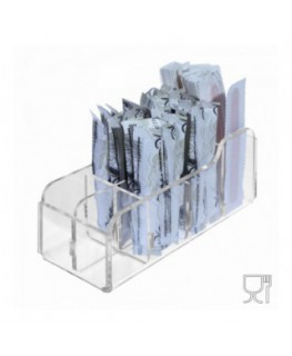 8-slot sugar stick-packet and stir-stick holder in transparent Plexiglass - CM(LxPxH): 16.5x6x6