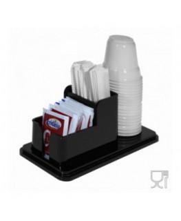 E-228 POB-I - Porta bustine zucchero, palette e bicchieri in Plexiglass nero a 3 postazioni - CM(LxPxH): 18x8.5x7